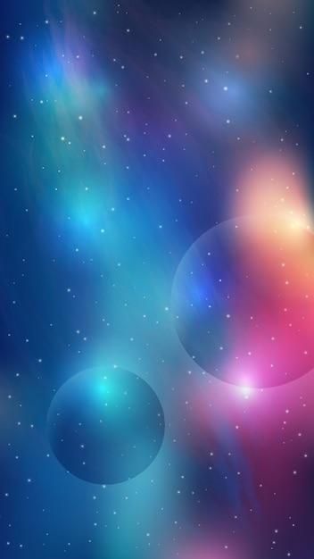 Galaxy sfondo mobile con effetto iridescente Vettore gratuito