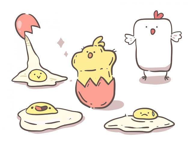 Gallina, pulcino e uova. linea disegnata a mano Vettore Premium