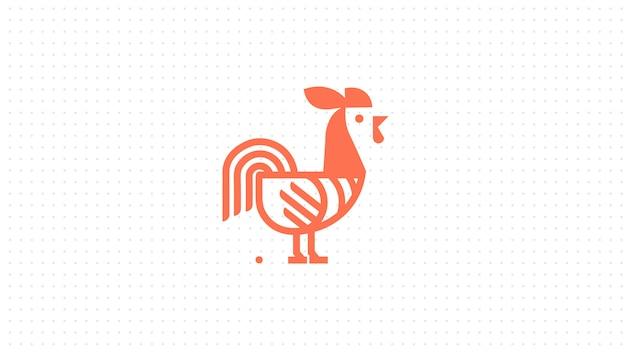 Gallo creativo con lo stile del concetto di linea logo. illustrazione astratta del gallo dell'uccello. Vettore Premium