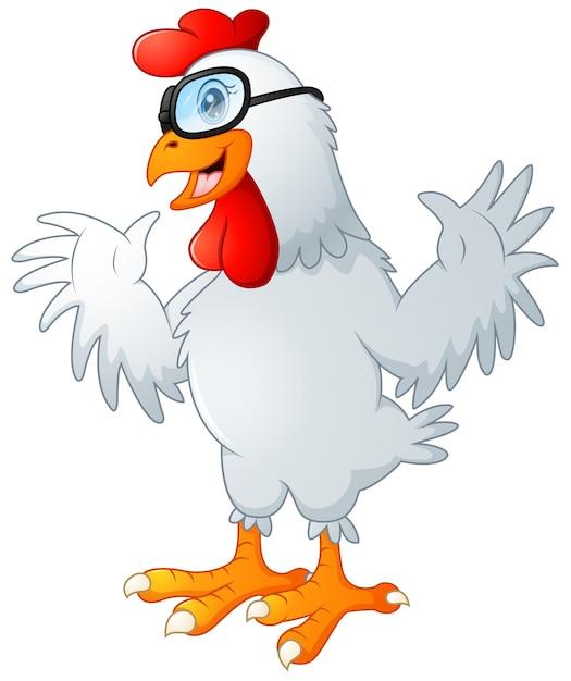 Gallo divertente cartone animato agitando con gli occhiali