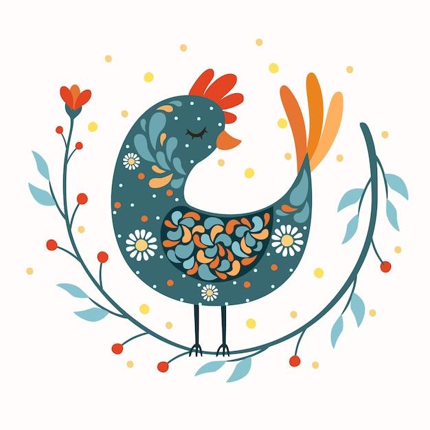Gallo uccello arte popolare Vettore gratuito