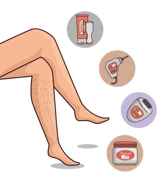 Gambe di donna con strumenti di depilazione Vettore gratuito