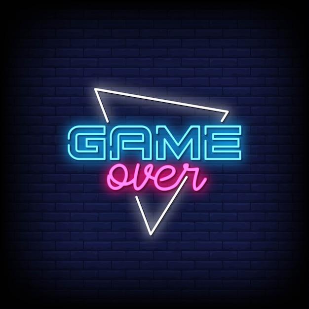 Game over testo in stile neon Vettore Premium