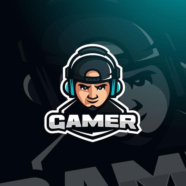 Gamer avatar di gioco youtuber con cuffie per logo esport Vettore Premium