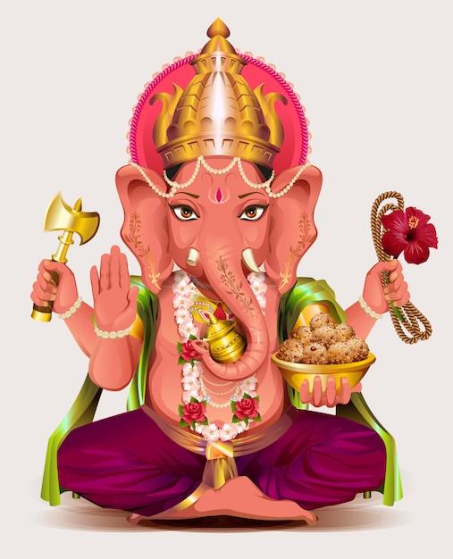 Ganesha dio indiano di saggezza e ricchezza Vettore Premium