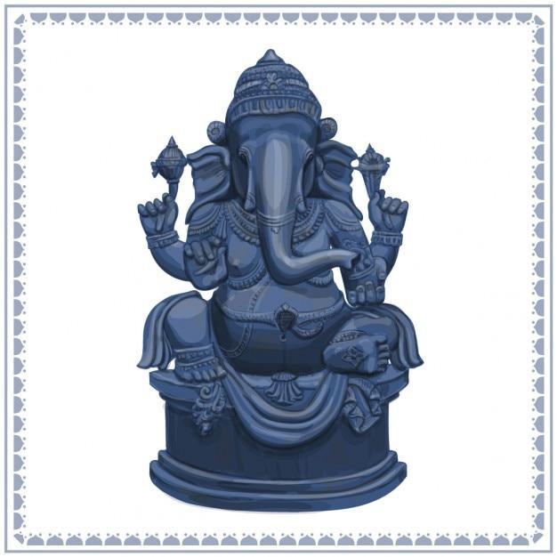 Ganesha statua illustrazione disegnata a mano Vettore gratuito