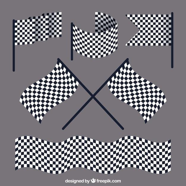 Gara raccolta bandiera a scacchi con design piatto Vettore gratuito