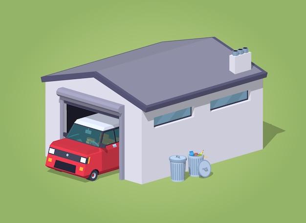 Garage basso poli bianco e macchina rossa Vettore Premium