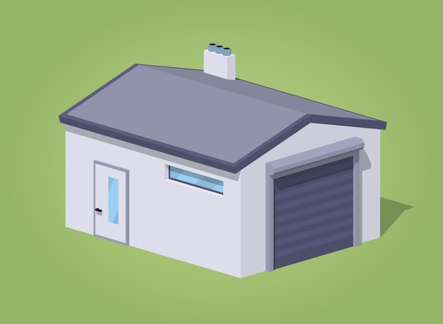Garage bianco chiuso basso poli Vettore Premium