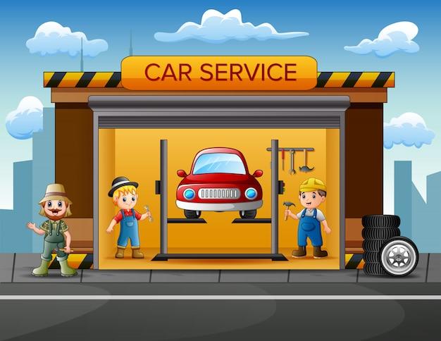 Garage di riparazione auto di cartone animato con riparatore, auto e set di strumenti Vettore Premium