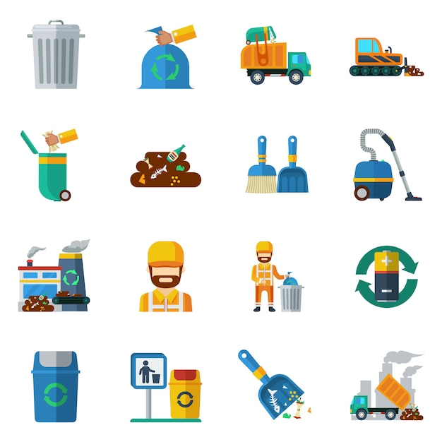Garbage recycling color icons Vettore gratuito