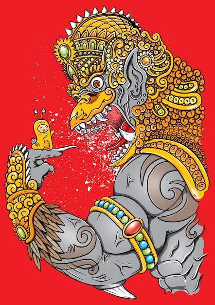 Garuda arrabbiato e carino illustrazione lumaca con ornamenti tradizionali Vettore Premium