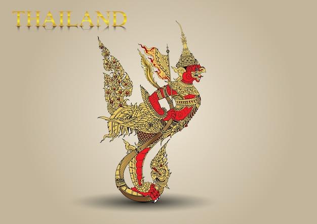 Garuda vola in vetta alla leggenda della tailandia Vettore Premium