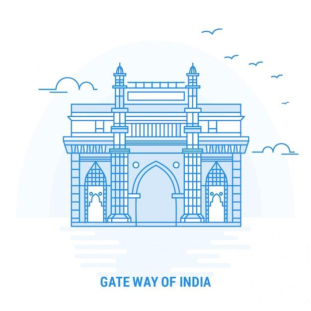 Gate way of india blue landmark Vettore Premium