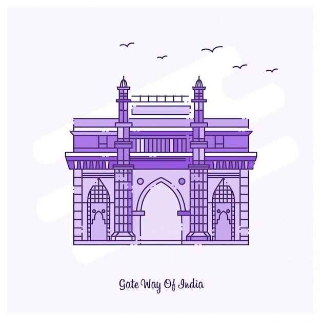 Gate way of india punto di riferimento Vettore Premium