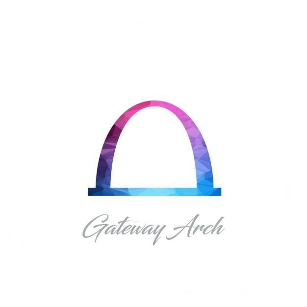 Gateway arch monumento poligono logo Vettore gratuito