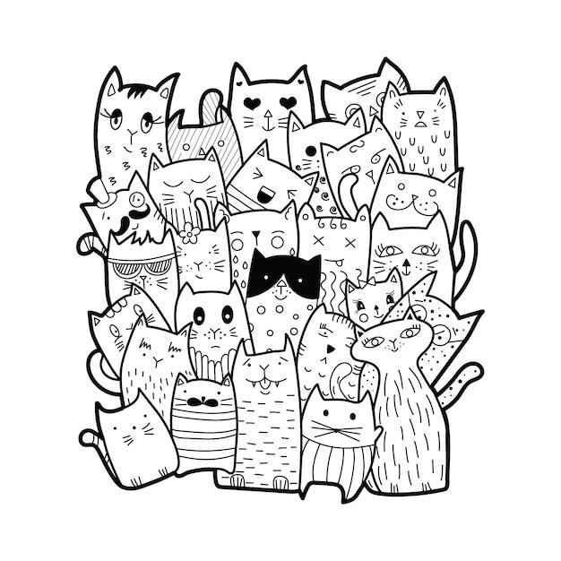 Gatti carini, stile doodle. Vettore Premium