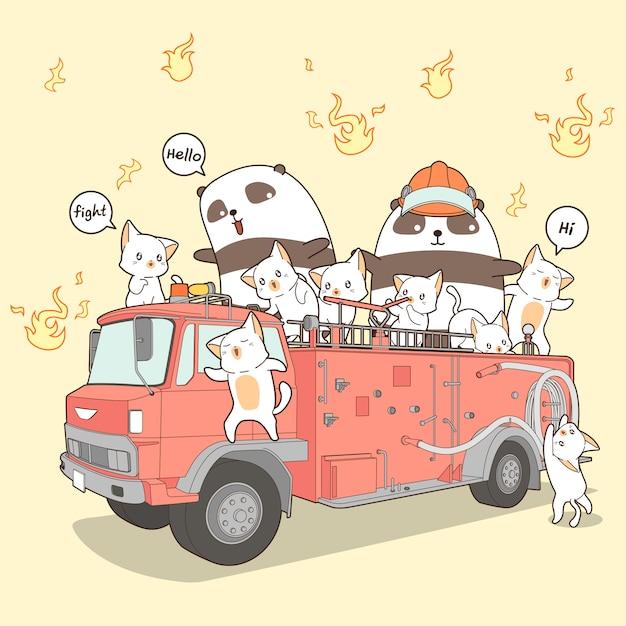Gatti di kawaii e combattente di fuoco del panda sul camion dei vigili del fuoco nello stile del fumetto. Vettore Premium