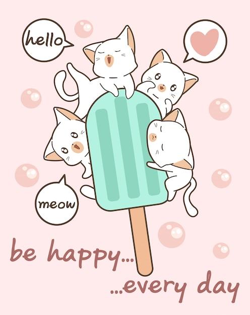 Gatti kawaii con gelateria Vettore Premium