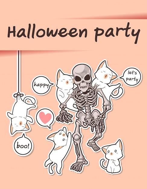 Gatti kawaii e scheletro nella festa di halloween Vettore Premium