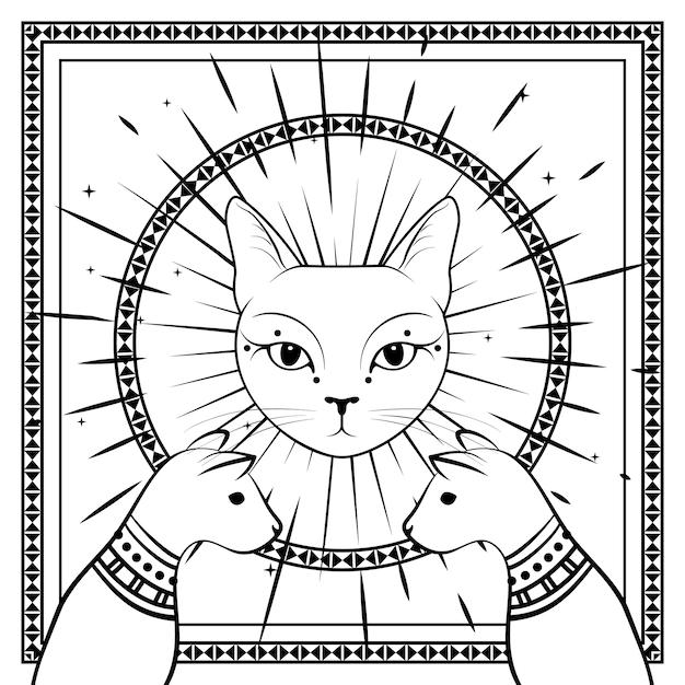 Gatti neri, faccia di gatto con la luna sul cielo notturno con cornice rotonda ornamentale. simboli magici e occulti. Vettore Premium