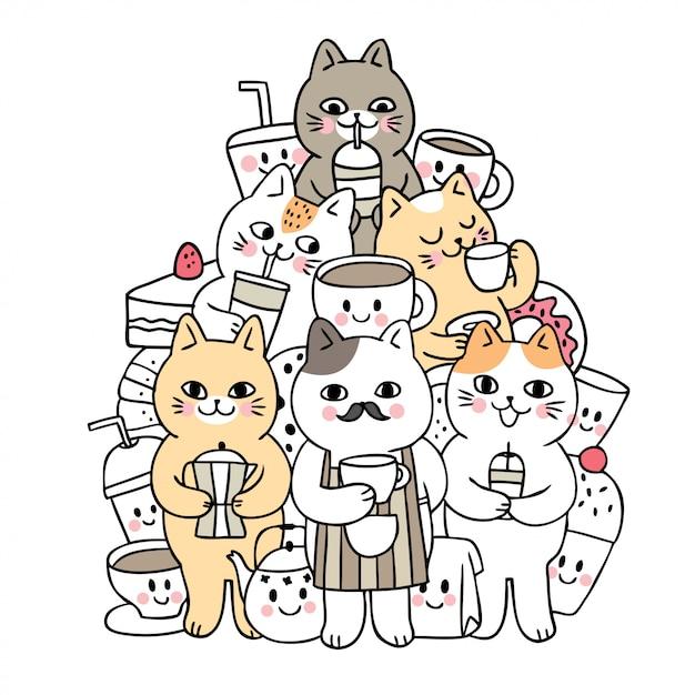 Gatti svegli di doodle del fumetto e vettore della bevanda. Vettore Premium