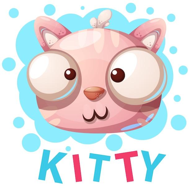 Gattino carino, personaggi di gatto - illustrazione di cartone animato Vettore Premium
