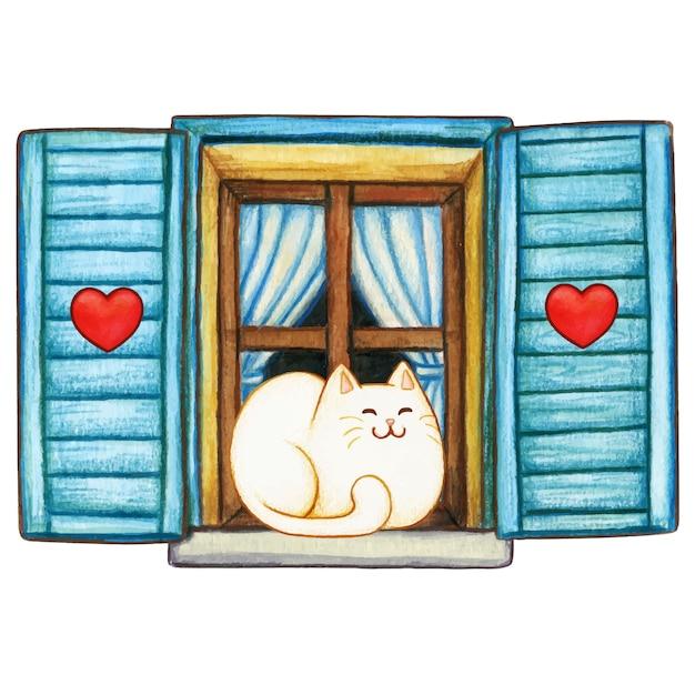 Gattino sveglio dell'acquerello su una finestra accogliente del paese Vettore Premium