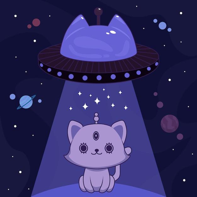Gatto alieno blu Vettore Premium