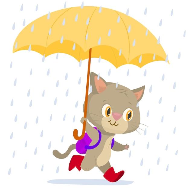 Gatto corrente allegro con un ombrello Vettore Premium