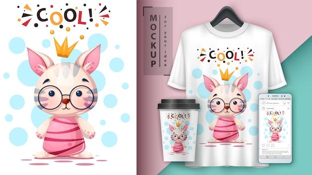 Gatto dei cartoni animati, gattino. design della maglietta Vettore Premium
