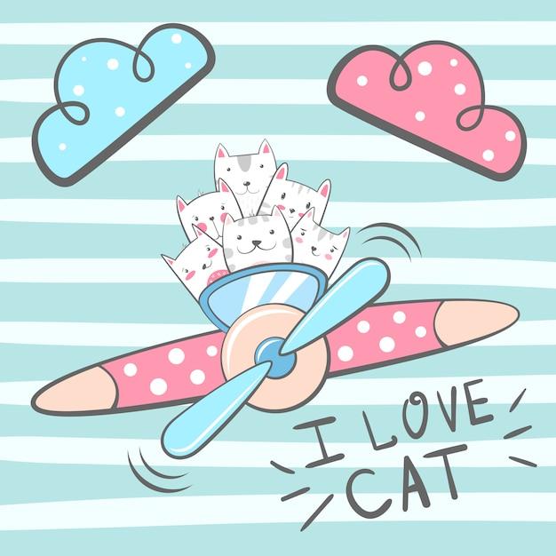 Gatto dei cartoni animati, personaggi dei gattini. illustrazione aeroplano Vettore Premium
