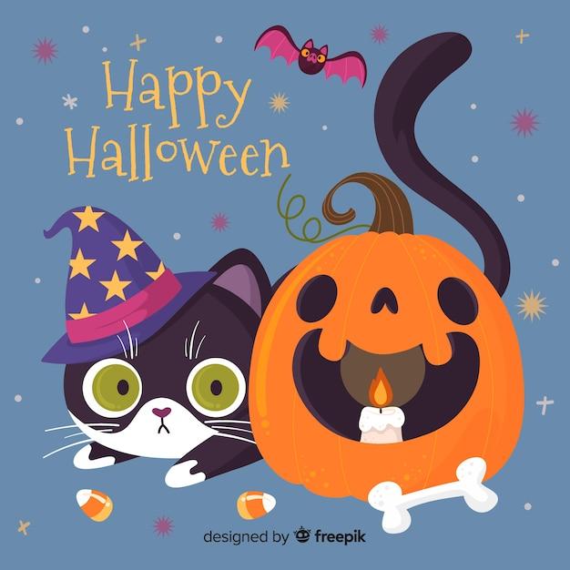Gatto felice di halloween e zucca curva Vettore gratuito