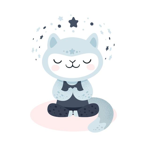 Gatto gattino carino facendo esercizio di yoga Vettore Premium