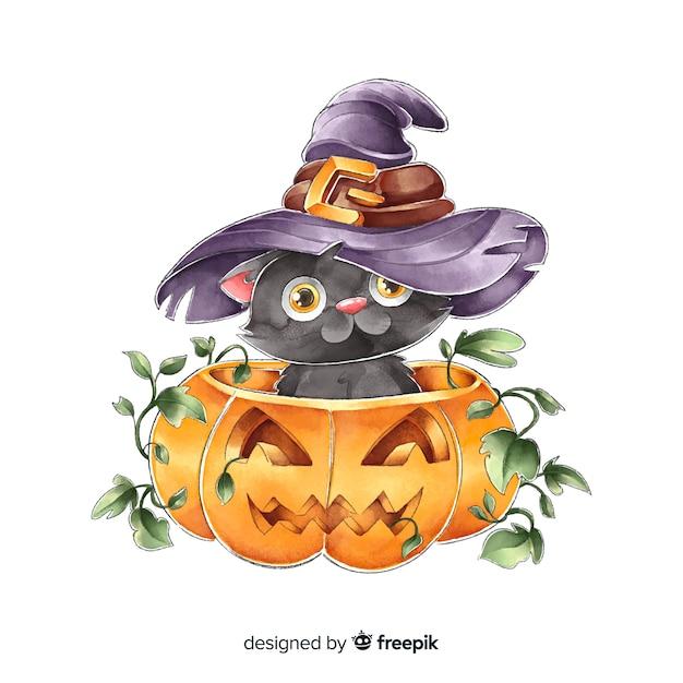 Gatto nero di halloween dell'acquerello sveglio con il cappello della strega Vettore gratuito