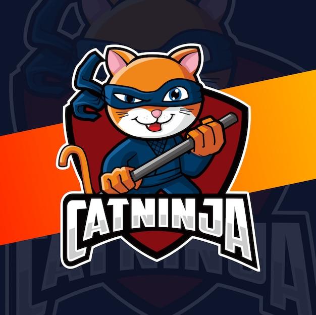 Gatto ninja mascotte logo design Vettore Premium