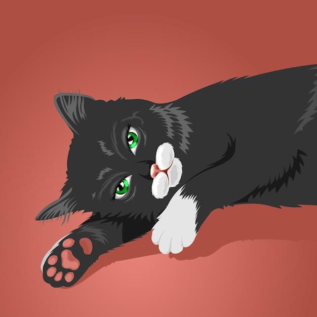 Gatto pigro Vettore Premium