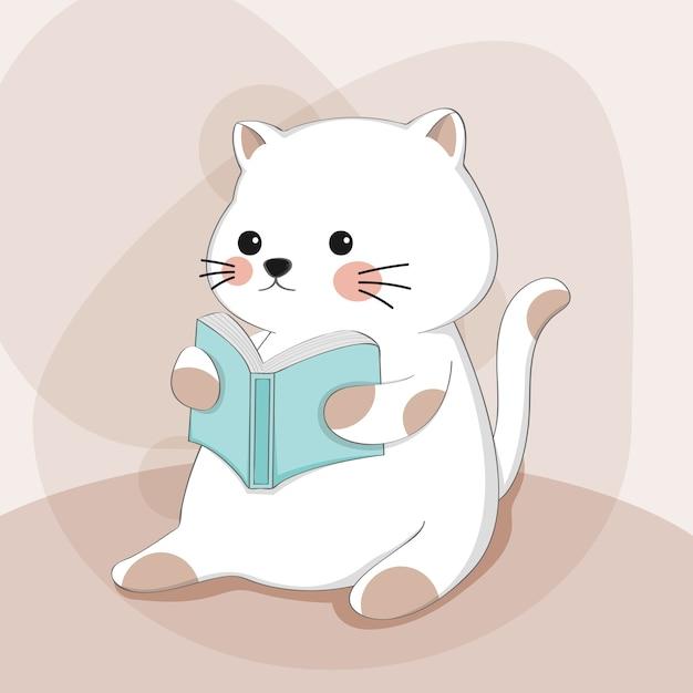 Gatto sveglio del fumetto con carattere animale di schizzo del libro di lettura Vettore Premium