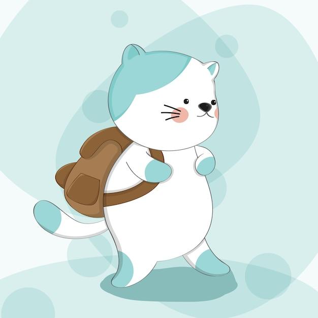 Gatto sveglio del fumetto con il carattere animale di schizzo dello zaino Vettore Premium