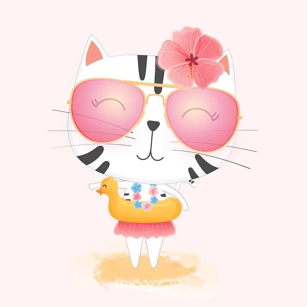 Gatto sveglio del fumetto nel cerchio di nuoto dell'anatra di gomma gialla e occhiali da sole che godono dell'estate sulla spiaggia. Vettore Premium