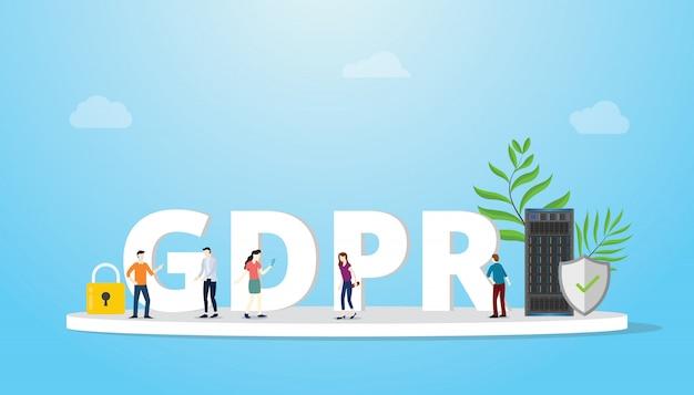 Gdpr generale concetto di protezione dei dati Vettore Premium