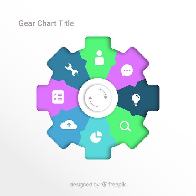 Gear infografica Vettore gratuito