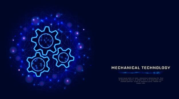 Gears. vector wireframe gear. tecnologia di ingegneria meccanica. Vettore Premium