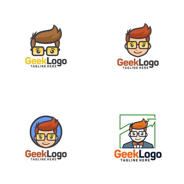 Geek logo design template vettoriale Vettore Premium