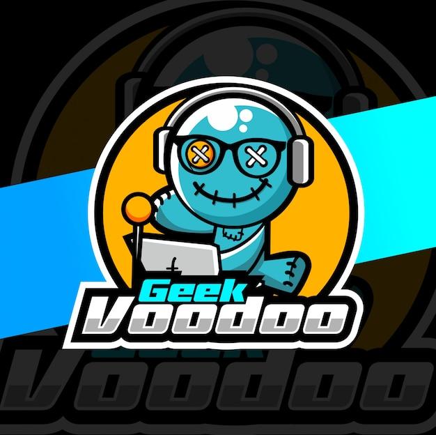 Geek voodoo mascot esport logo design Vettore Premium