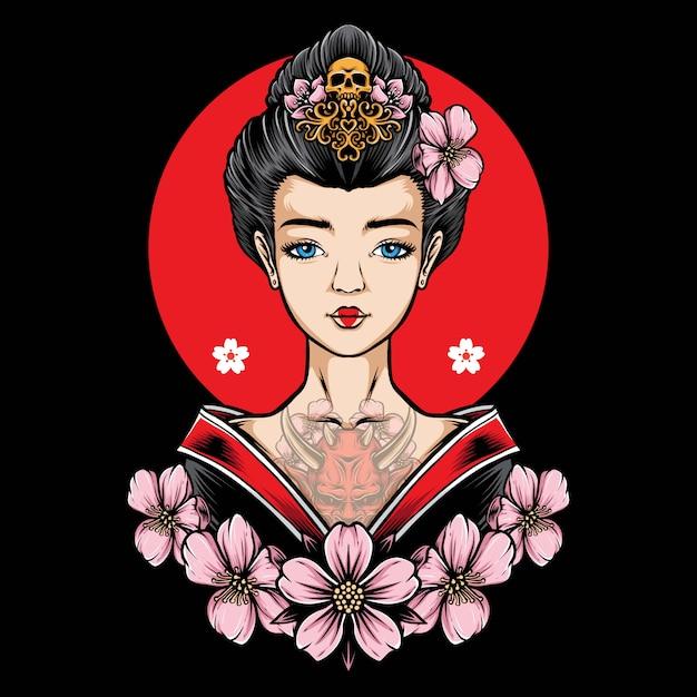 Geisha tatuata con il vettore di sakura Vettore Premium