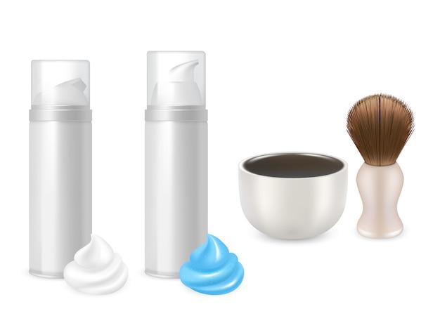 Gel da barba e bottiglie di schiuma, pennello da barba e mockup mug. Vettore Premium