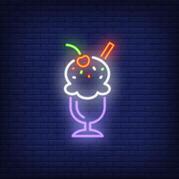 Gelato in vetro con insegna al neon Vettore gratuito