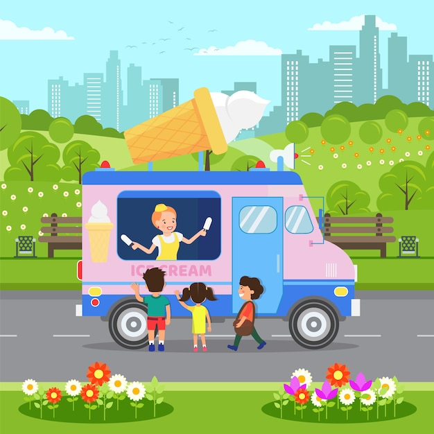 Gelato van, food truck vector illustration Vettore Premium