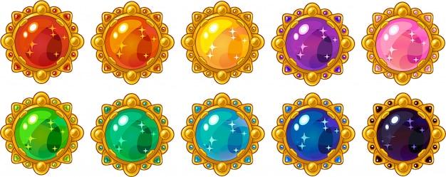 Gemma rotonda colorata lucida con cornice dorata impostata per l'interfaccia di gioco mobile Vettore Premium